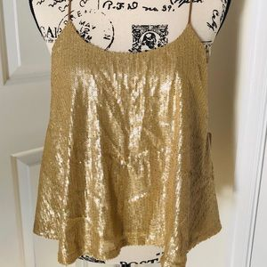 NWT Super Shimmery Gold Sequin Top